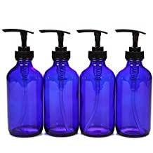Vivaplex, 4, Large, 8 oz, Empty, Cobalt Blue Glass Bottles with Black Lotion Pumps