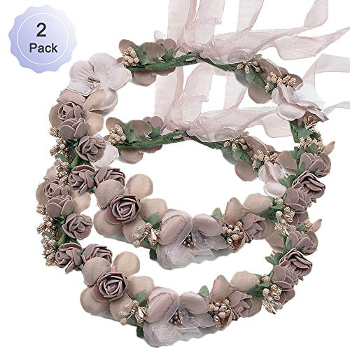 (Flower Crown Headband Rattan Vine Wreath Garland Floral Wedding Bridal Hair Hoop Leaf Ribbon Party Decoration Headdress Headwear Christmas Handmade Headpiece Girls Kids Hair Accessories 2 Pack Coffee)