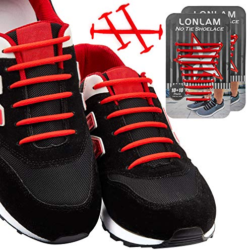 [Upgrade] Lonlam No Tie Shoelaces (Round Stretch Strings) Silicone Elastic Bungee Rubber Laceless Lazy Tieless Shoe Laces for Adults Kids Toddlers, Sneakers Athletic Running Boot Dress Shoes ()