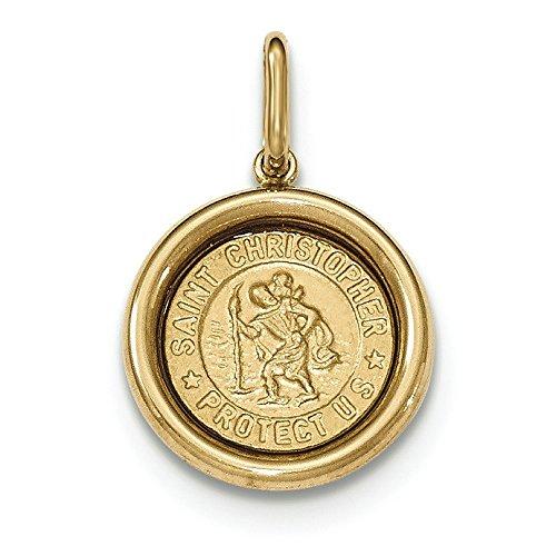 14 carats Or jaune poli et satiné St Christophe-Pendentif JewelryWeb