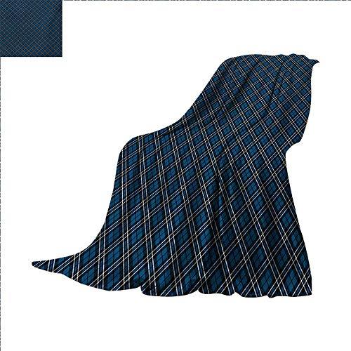 Abstract Custom Design Cozy Flannel Blanket Victorian British Tartan Pattern with Baroque Effects in Dark Tones Print Lightweight Blanket Extra Big 80 x 60 inch Blue Black White