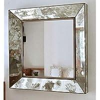 Espejo decorativo para pared, Estilo Vintage, Acabado envejecido, Artesanal, Ideal para la sala o comedor