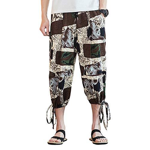 INVACHI Men's Elastic Waist Floral Printed Pattern Wide Leg Cotton Harem Baggy Pants Patchwork Linen Capri Trousers