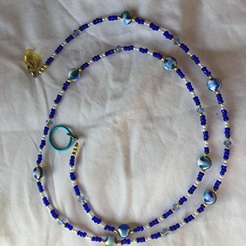 Handcrafted Beaded Lanyards (Sapphire Blue and White Pearl Beaded 36 Inch Eyeglass Employee Badge Lanyard)