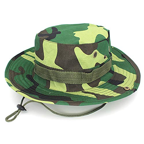 Women Men Casual Camouflage Bucket Hat with String Summer Fisherman Cap Military Panama Outdoor Sun Hats Cap