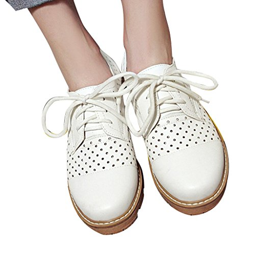 Cut by Oxfords Shoes White Time Flat Platform Out Dear Women aqvwSda