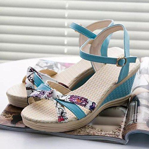 Shoes Blue Peep Heel Fashion Women Wedges Flops Flip Summer Beach TM Sandals Toe High Elevin xq1wUaO6q