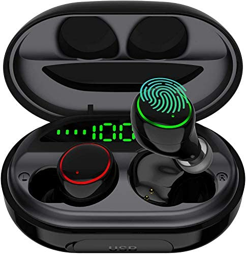 Wireless Earbuds Bluetooth 5.0USB Charging Case IPX8 Waterproof HiFi Stereo Noise Cancelling Headphones in Ear Built in Mic Headset 120H Playtime for Sport Black