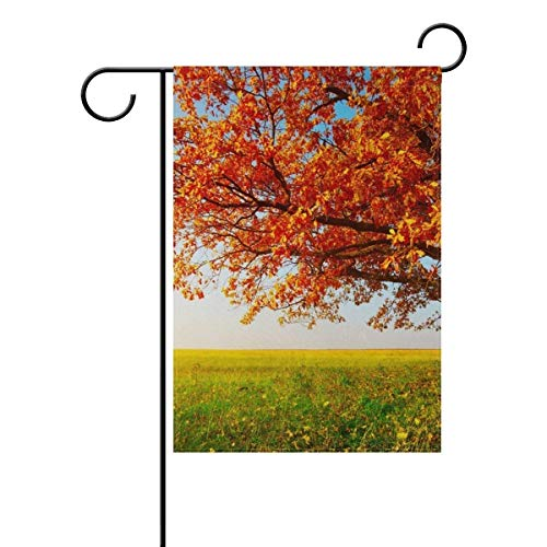 Ashasds Beautiful Fall Maple Leaf Tree Double Sided Family Flag Polyester Outdoor Flag Home Party Garden Flag 12x18 Inch