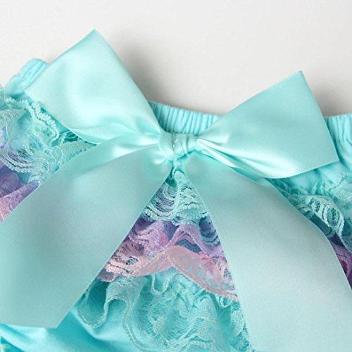 Omiky® Baby-Säuglingsmädchen-Spitze-Rüsche-Abdeckung Bloomer-Windel-Unterwäsche-Windel-Panty Blau