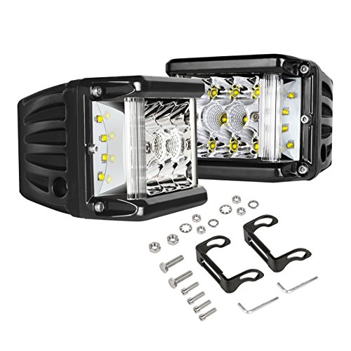 Side Shooter LED Lights Auto Power Plus 2Pcs 4 Inch 90W Cube Side Shot Pods Off Road Light Pods Dual Row Work Light Bar IP 68 Waterproof Driving Fog Lights (Body Work Side Cover)