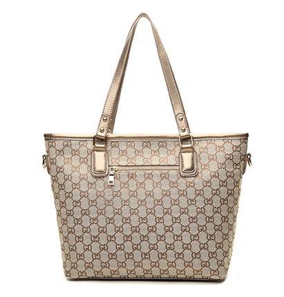 Gold Indigo Brown Shoulder GetThatBag® Print Matching Purse Shopper with Handbag Monogram Bag PFFxqw1v