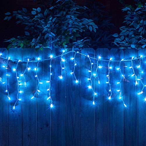 YOLIGHT 13ft 96 LEDs Icicle Curtain String Drop Lights, Indoor Outdoor Decoration for Christmas Festival Wedding Party Patio Garden (Blue) (Christmas Ice Blue Lights)