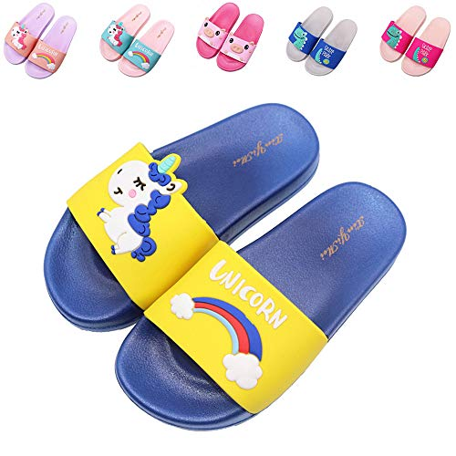 Elcssuy Kids Summer Sandals Non-Slip Lightweight Beach Water Shoes Pool Bath Slippers Sport Slides for Boys Girls(Toddler/Little Kid) Yellow Unicorn33