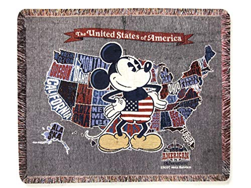 Disney Parks Mickey Mouse United States of America American Adventure Tapestry Woven Throw Blanket