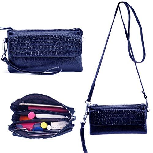 Bolso de cuero genuino del embrague del embrague, bolso de hombro del bolso de embrague de la tarde de las mujeres de Shalwinn con la correa del embrague y correa de hombro larga para el partido o la  887#-Sapphire Blue