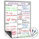 Magnetic Whiteboard Calendar for Fridge,Ideal for Menu Planner, Memo,Event Reminder,Monthly or Weekly Shopping List,Includes 4 Free Dry Erase Colour Markers,42cm x 30cm (Weekly)