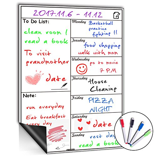 Magnetic Whiteboard Calendar for Fridge,Ideal for Menu Planner, Memo,Event Reminder,Monthly or Weekly Shopping List,Includes 4 Free Dry Erase Colour Markers,42cm x 30cm (Weekly) by QC Life