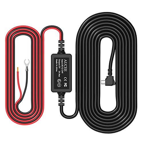 AUCEE Dash Cam Hardwire kit, Mini USB Port,DC 12V – 36V to 5V/2A Max Car Charger Cable kit With Fuse,Low Voltage Protection for dash cameras