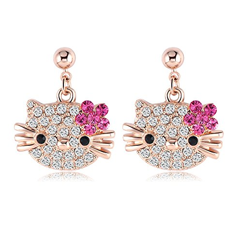 VPKJewelry Women's ladies Girls Kids Hello Kitty Cat 18k Rose Gold Plated Austrian Crystal Stud (18k Cat Earrings)