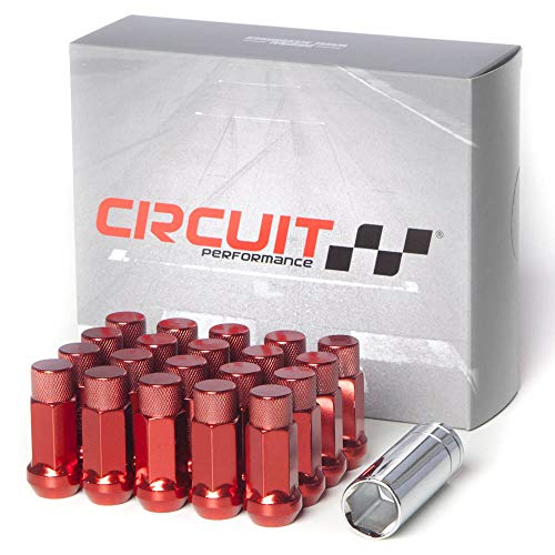 (Circuit Performance Forged Steel Extended Hex Lug Nut Aftermarket Wheels: 12x1.25 Red - 20 Piece Set + Tool)