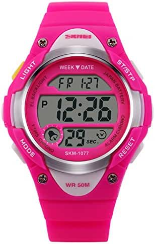 Unisex Casual Children Water Resistant Watch LED Watch Student's Multifunction Electronic Watches Boy Girl Outdoor Sports Watch Christmas Gift Watch (Pink)