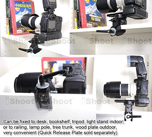 5//8 1//4 M5 Function Extension Screw Holes Super Strong Universal Metal Photo Photography Camera Crab Clamp for 5cm Round Tubes Tripod Light Stand Boom /& 3cm Square Tube Desk Bookshelf Wooden Board