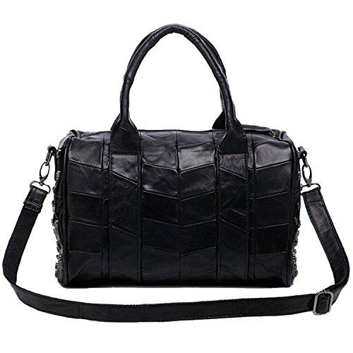 Win8Fong para mujer bolso de mano con brillantes de funda de piel sintética diseño de calavera colgado del brazo bolso de hombro bolso bandolera para negro