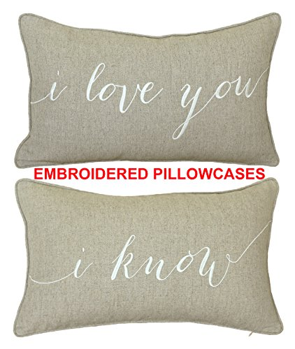 DecorHouzz I Love u I know Set of 2 Pcs Embroidered Pillow Case Pillow Cover Decorative Pillow Cushion Cover 12