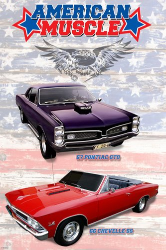 AMERICAN MUSCLE CARS POSTER 67 Pontiac GTO   66 Chevelle SS HOT NEW 24x36   PW1