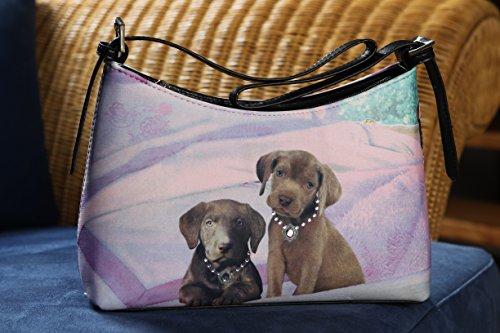Handtasche mit Hundemotiv - braune Labrador Welpen