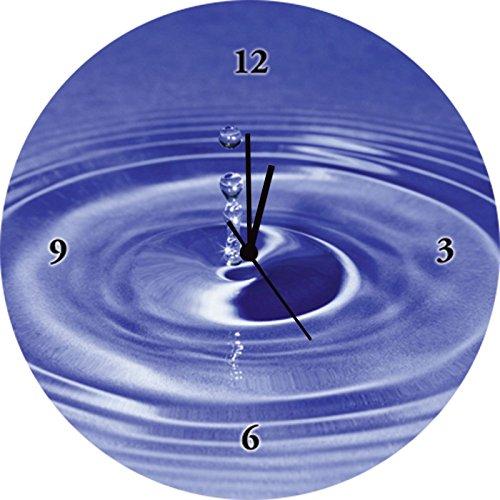 Artland Qualitätsuhren I Funk Wanduhr Designer Uhr Glas Funkuhr Größe: 35 Ø Zen Wasser Blau G1MA