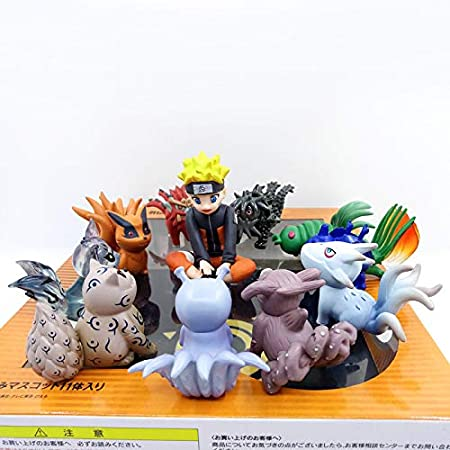 11pcs//set Naruto Shippuden Uzumaki Naruto /& Bijuu Mini PVC Figure Toy New In Box