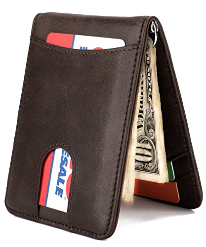 - Mens Wallet Slim Leather Front Pocket Wallet Money Clip with Pull Tab Slot and RFID Blocking - Coffee