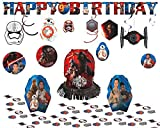 Star Wars Episode VII Party Decoration Kit - Honeycomb Decorations, Swirl Value Pack, Jumbo Letter Birthday Banner, and Table Decorating Kit