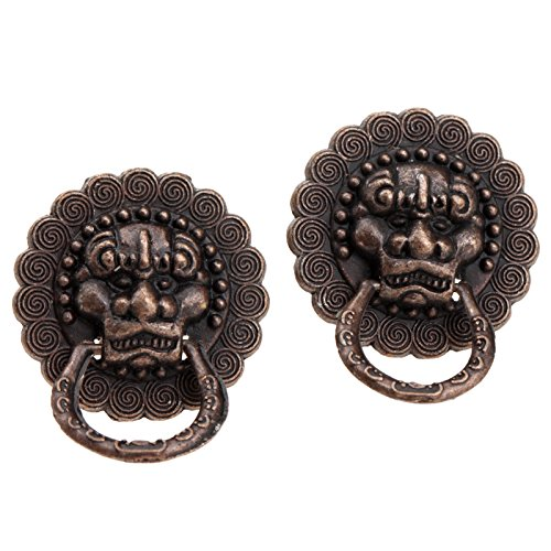 Dophee 2Pcs Vintage Small Pull Handle Knobs for Small Jewelry Boxes, Lion Shape, Size 0.94