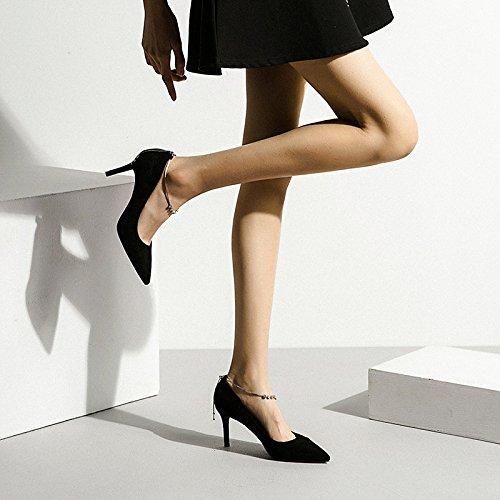 Mujer Snfgoij Tacón Alto De Color Rojo Atractivo De La Manera Zapatos De La Corte De Grupo De Trabajo Diamantes De Imitación De La Boda Zapatos De Las Mujeres Del Club Nocturno, Negro-7cm-ue: 35 / Reino Unido: 3