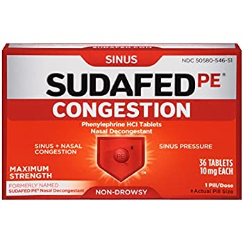 Sudafed PE Congestion and Sinus Relief, Maximum Strength, 36 Count