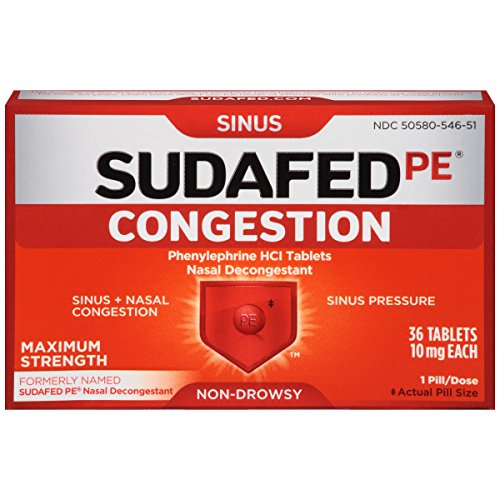 Sudafed PE Congestion and Sinus Relief, Maximum Strength, 36 Count (Nasal Decongestant Sinus Sudafed)