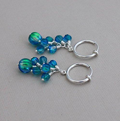 Clip hoop earrings, Czech melon clusters in Deep Sea Blue, handmade clip on ()