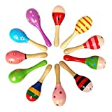 10 PCS Wooden Wood Maraca Rattles Shaker Percussion Kids Musical Toy Favour, Maracas 10, 36 months up