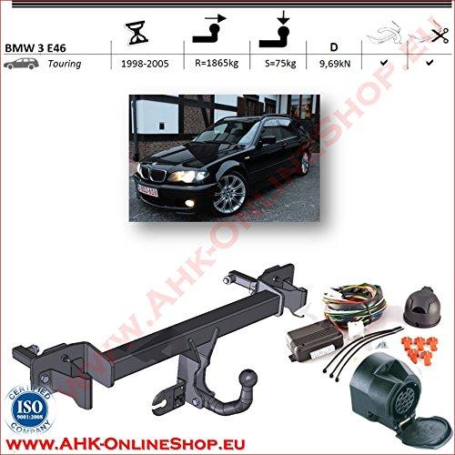 AHK Anh/ängerkupplung mit Elektrosatz 13 polig f/ür BMW 3-er E46 Kombi 1998-2005 Anh/ängevorrichtung H/ängevorrichtung mit angeschraubtem Kugelkopf starr