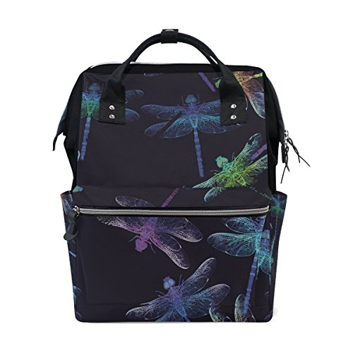 School Travel Backpack Dragonfly Laptop Daypack Large Diaper Bag Doctor Bag by WIHVE