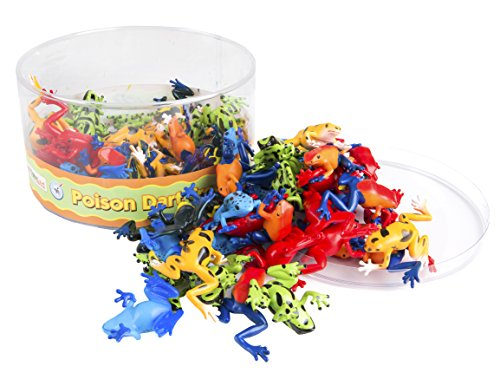 Safari Ltd Poison Dart Frogs Bin – 72 Count – Realistic Hand Painted Miniature Toy Figurine Frog Models – Quality Construction From Safe And BPA Free Materials – For Ages (Poison Arrow Dart Frog)