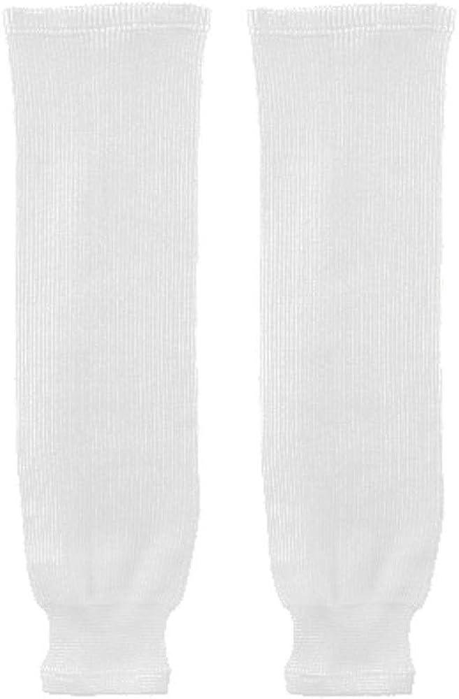 """Trenway Pro Style Rib-Knit Ice Hockey Hose Socks (Pair) Youth Child Size, 20-22"""" Long (White) : Clothing"""