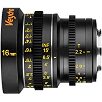 Veydra V1-16T22CMOUNTI Mini Prime 16mm T2.2 C-Mount Imperial Cinema Lens with Manual Focus, Black