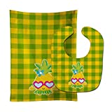 Caroline's Treasures Pineapple Face with Heart Glasses Baby Bib & Burp Cloth, Multicolor, Large