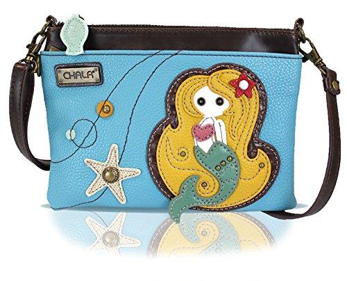 Chala Mini Crossbody Handbag, Multi Zipper, Pu Leather, Small Shoulder Purse Adjustable Strap - Mermaid - Blue