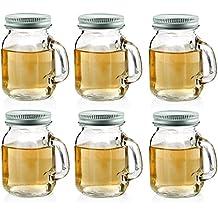 Circleware Mason Jar Mug Shot Glasses with Glass Handles and Metal Lids, Set of 6, 5 oz., Clear