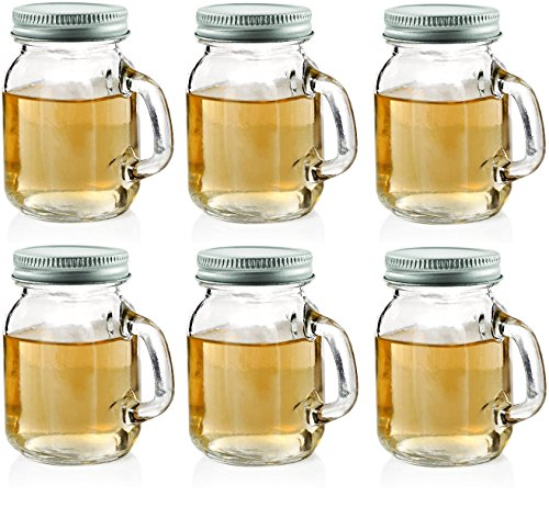Circleware 69036 Mason Jar Mug Shot Handles and Metal Lids Set of 6 Heavy Base Glassware Drinking Glass Cups for Whiskey, Vodka, Brandy, Bourbon & Best Selling Bar Liquor, 5 oz, Clear ()